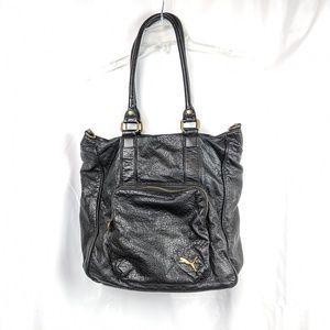 Puma Faux Leather Black Shoulder Bag Gold Hardware